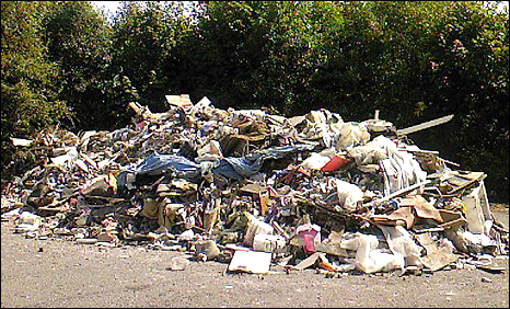 The waste was dumped at the Heads of the Valley Industrial Estate on Thursday August 13.
