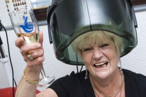 Hilary Carter celebrates her lottery win at Salon Michelle in Penyrheol
