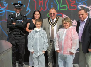 Competition winners Jessie McCarthy and Scot Chamberlain alongside (L-R) Inspector Paul Staniforth, Michaela Rogers, Operational Manager for the Youth Offending Service, Mayor John Evans and council leader Lindsay Whittle.