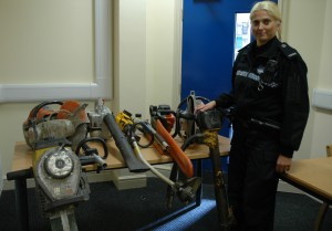 PC Alison Perry with the recovered property.