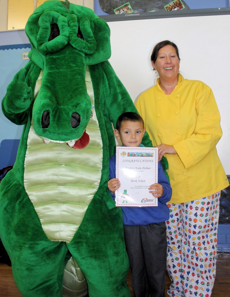 Reuben Kala-Palmer along with healthy food trainer Cheryl Barge and Cati the Croc