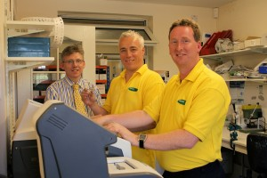 Robin Lewis, owner of Pole Optical with employees Gareth Smith and Neil Williams.