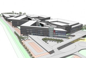 An artist's impression of the new Ysbyty Ystrad Fawr, which is due to open in 2011.