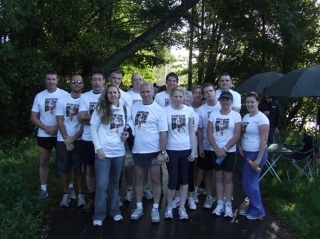 Runners wore t-shirts with David Furness's picture on during the 5km run around the Taff Trail, in Cardiff on Saturday.