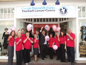 Caerphilly County Borough Mayor John Evans opens the new charity shop in Caerphilly.