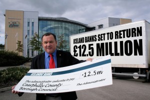 Council leader Lindsay Whittle celebrates the news of the return of £12.5m council cash.