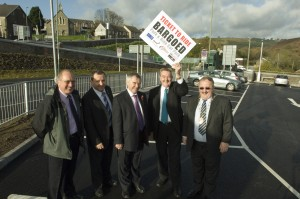 L-R: Cllr Ron Davies, cabinet member for regeneration; Cllr Lindsay Whittle, council leader; Ieuan Wyn Jones, Deputy First Minister; Cllr Rob Gough, cabinet member for transportation; Cllr John Evans, Caerphilly County Borough Mayor.