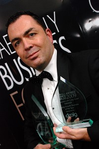 Paul Williams of Utility Training Services, winner of Young Growth Business of the Year and the overall Premier Award.