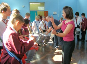Heolddu School's Samba Group, led by Samba tutor Ian Davies and Heolddu's Head of Music, Liz Roberts.