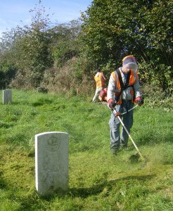Offenders help to maintain Commonwealth War Graves as part of their Community Payback.