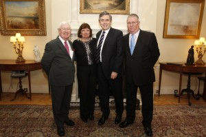 Chief Superintendent, Ian Johnston, right, his wife Janet, Gordon Brown and on the left Islwyn MP, Don Touhig.