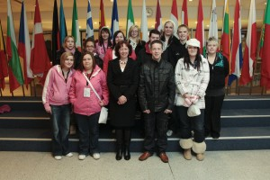 Jill Evans MEP with Caerphilly Youth Forum on their recent EU visit.