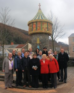 The Mayor joins members of the local community at the unveiling of the Llanbradach Follies.