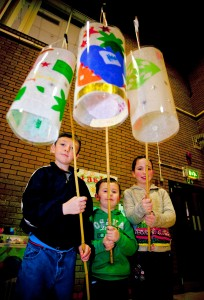 Jordan Badcock, Kensey Ackerman and Harri Ackerman with their lanterns at one of the workshops in Caerphilly Leisure Centre.