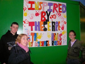 Youngsters with their artwork at Ysbyty Ystrad Fawr.