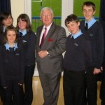 Islwyn MP Don Touhig with pupils and staff from Cwmcarn High School.