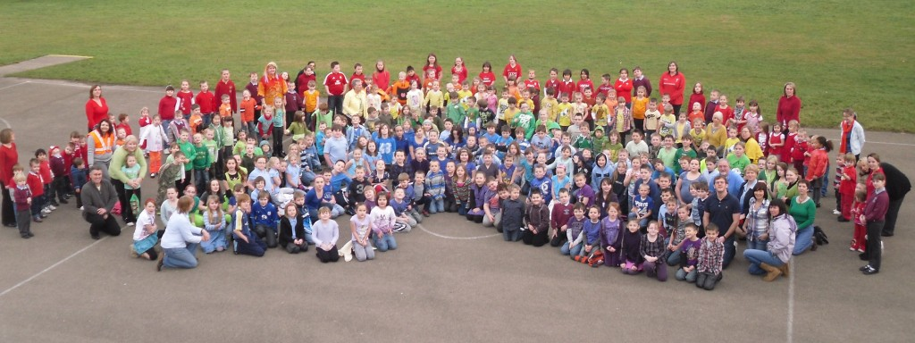 """Children at Plasyfelin Primary School, in Lewis Road, Caerphilly, held a special """"Rainbow Day"""" to raise money for the Haiti earthquake appeal."""