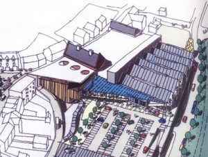 An artist's impression of the Bargoed development which could include a Morrisons supermarket.