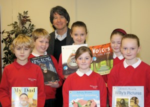 Children from Penllwyn Primary School with author Anthony Browne.