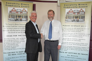 Caerphilly AM Jeff Cuthbert, right, has signed an agreement with Tony Whittaker, chief executive of United Welsh Housing Association to try and save the Miners' hospital