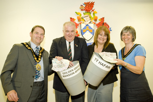 The Mayor, Cllr James Fussell and his wife Catherine are pictured with Arfon Williams of Golden grove and Christine Chandler of Ty Hafan