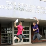 Joel Phillips and Aaron Davies celebrate their results at Ysgol Gyfun Cwm Rhymni