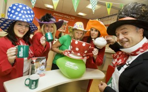 Principality staff don their fancy dress to take part in the MacMillan coffee morning