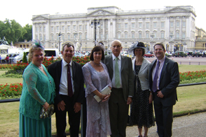 Mayor of CCBC, Cllr James Fussell (far right) and his wife and consort Catherine together with Keith and Glenys Bradfield and Yvonne and Geoff Harris at Buckingham Palace