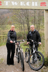 Bev and Paul Storey of PS Cycles at Cwmcarn