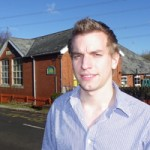 Tory candidate Owen Meredith outside Rudry Primary School which he attended from 1990-1997