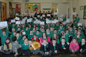 Gilfach Fargoed Primary School, celebrating taking part with their certificates and goodie bags