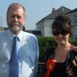 Caerphilly's Labour candidate Jeff Cuthbert with former Miss Caerphilly Rhian Davies