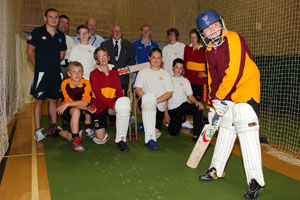 Pupils and staff at Risca Community Comprehensive welcome the new cricket machine