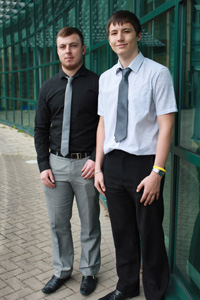 Curtis Rees and Ross Wilkes have secured apprenticeships with Tredomen based firm SCS Group