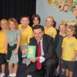 Chris Evans MP with pupils from Ysgol Gymraeg Cwm Deren