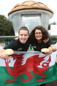 Owain Jones and Clare Morgan of Peter's prepare the Piemobile for Wales v France