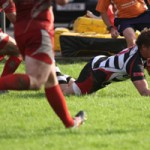 Rodger MacBurney crosses for his first Bedwas try