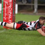 Bedwas centre Ross Wardle dives in for a try versus Carmarthen Quins