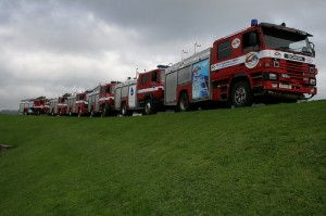 The convoy of six fire engines is making its way to Serbia