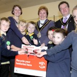Pupils from Fochriw Primary School launching the battery recycling scheme, together with Cllr Lyn Ackerman and the Mayor Cllr Vera Jenkins and her husband Robert