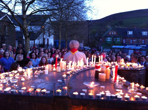 More than 300 people packed Abertridwr Square for a candlelit vigil for missing man Trevor Elias