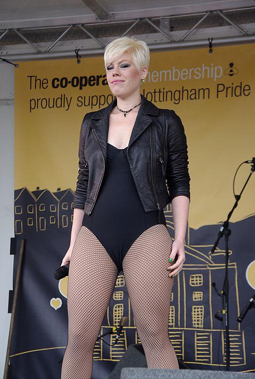 Zoe Alexander performing as Pink at Nottingham Pride