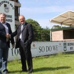 Bedwas RFC Chairman Mark Lewis welcomes new Commercial Manager Ron Davies to Bedwas RFC