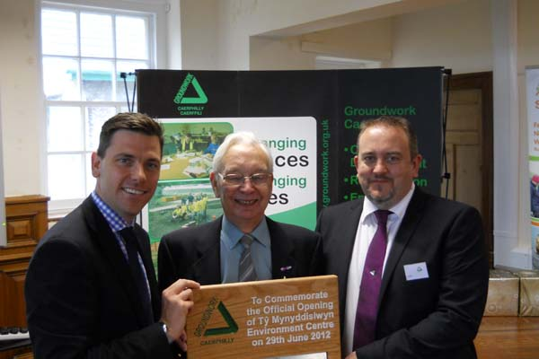 Chris Evans MP with Chris with Bob Cooke, Chairman of GAVO, and Lee Turner, Executive Director of Groundwork Caerphilly