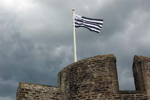 The Breton Flag above Caerphilly Castle
