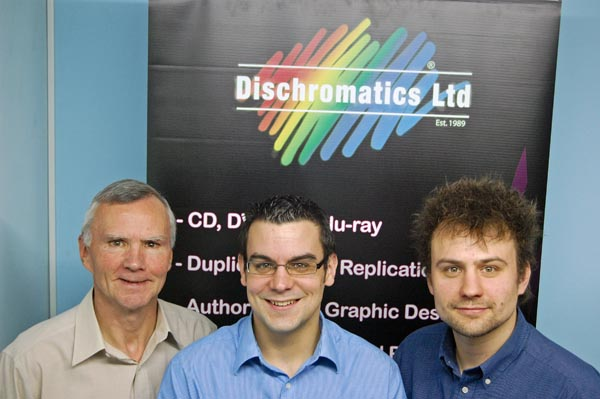 Dischromatics chairman Stewart Spencer with sons Gareth and Alex