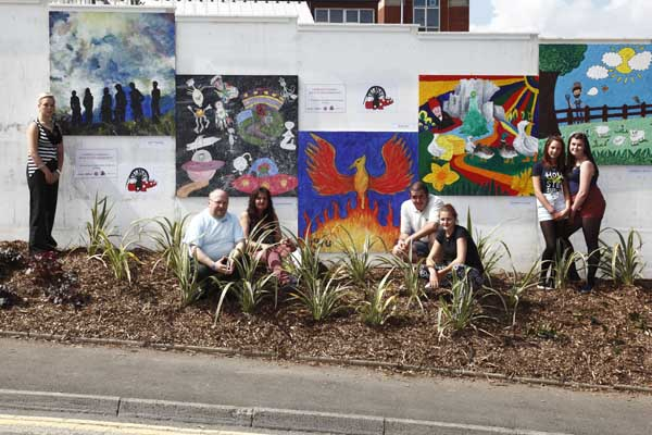 The community art surrounds the site of the former Caerphilly Miners' Hospital