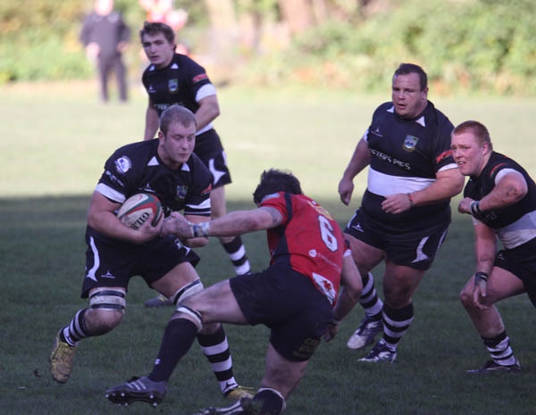 Phil Rees takes the ball up versus Cross Keys