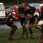 Bedwas' Matthew John sees a gap in the Stirling defence