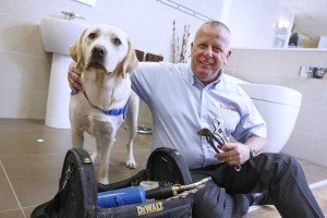 Caerphilly-based company Heatforce has raised £30,000 for Guide Dogs Cymru. Pictured is its managing director Paul Maddocks